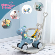 Infant Shining Kids Animal Rocking Horses Multi-functional Chairs Trojan Toys Baby Play Walker Indoor for Girl Gift