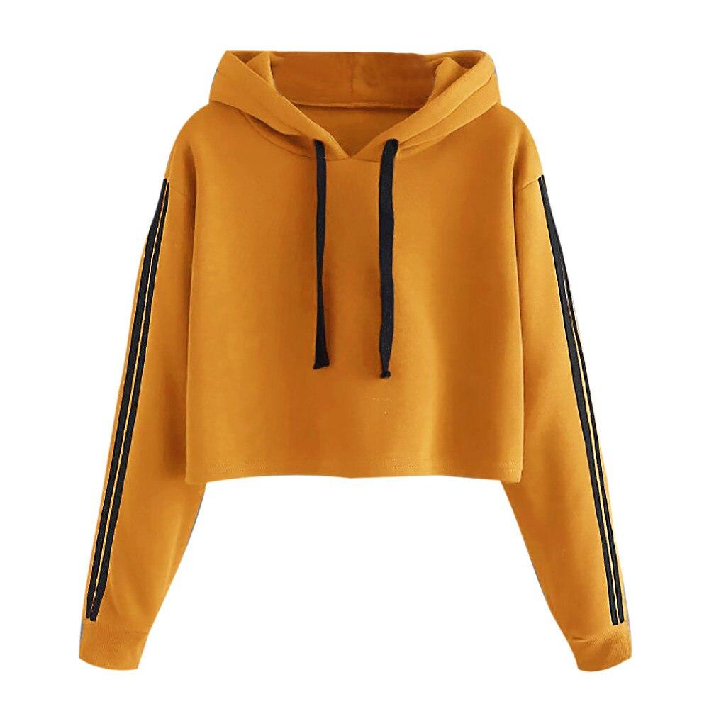 Fashion Dames Hoodies Solid Striped Lace Up Trekkoord Lange Mouwen Sweatershirt Hoodie Tops Herfst Losse Sweatshirts
