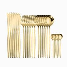 Juego de cubiertos dorados de acero inoxidable, cuchillos dorados, tenedores, cucharas, cubiertos de acero para cocina, vajilla dorada