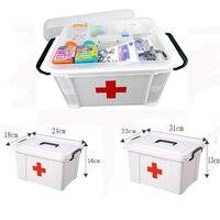 Weiß Kunststoff Familie First Aid Kit Medizin Box 2 Schichten Portable Mobilen Camping Überleben Notfall Medikament Lagerung Box-in Notfallkoffer aus Sicherheit und Schutz bei
