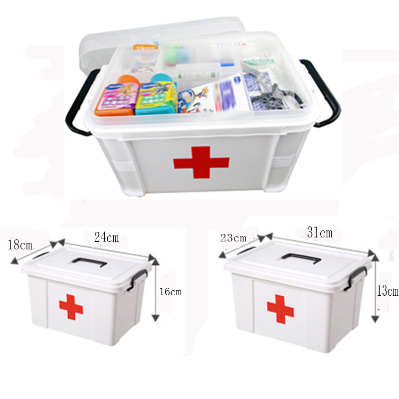 White Plastic Family First Aid Kit Medicine Box 2 Layers Portable Mobile Camping Survival Emergency Drug Storage Box