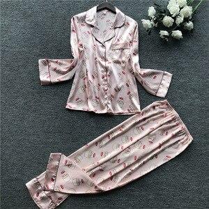 Image 2 - 2019 Autumn New Printing Fashion Pajamas Long Sleeve Stain High Quality Pyjamas Cardiagan Trousers Twinset Sleepwear