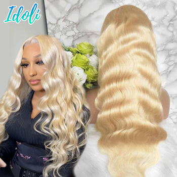 613 Wig 13x4 Lace Frontal Wig Perruque Cheveux Humain Bresiliens Solde Wigs For Women Human Hair 613 Frontal Honey Blonde Wig image