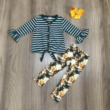 spring/Winter baby girls outfit children cotton clothes ruffles mustard green floral flower ruffles tie top pants match bow