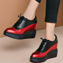 Trainers Women Lace Up Genuine Leather Platform Wedges High Heel Ankle Boots Female Pointed Toe Fashion Sneakers Casual Shoes ms noki bling women ankle boots thin heel lace up high heel pointed toe supper quality woman new fashion shoes