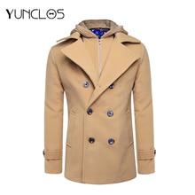 купить YUNCLOS Men Coat Khaki Short Hooded Double-breasted Coat Men Low Price Casual Men Coats Fast Delivery Windbreaker  5 Size Dress дешево