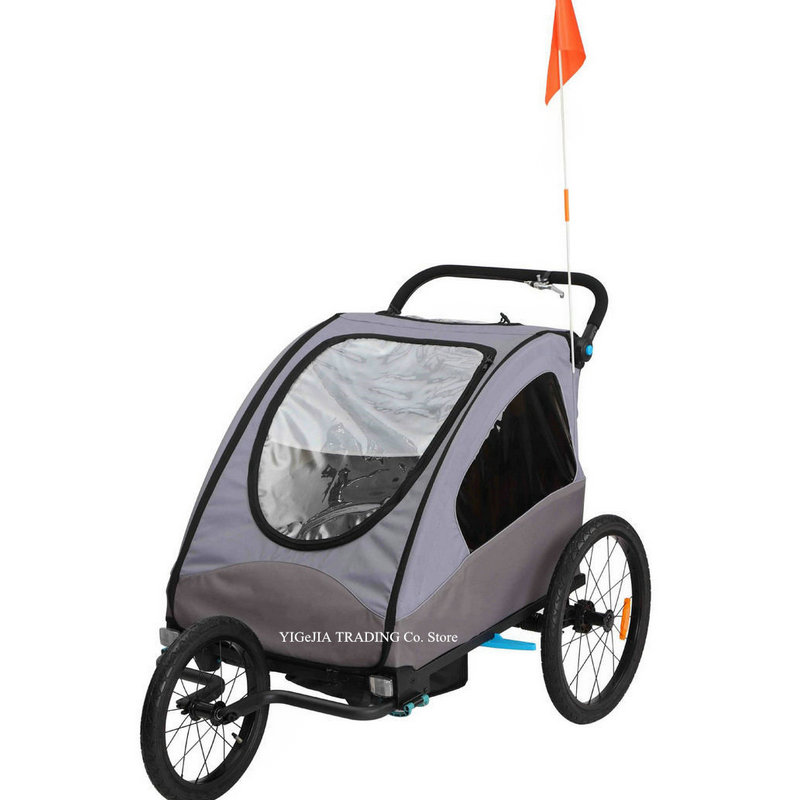 Black//White 3in1 Double Child Baby Bike Bicycle Trailer Stroller Jogger