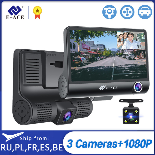 E-ACE Car DVR 3 Cameras Lens 4.0 Inch Dash Camera Dual Lens suppor Rearview Camera Video Recorder Auto Registrator Dvrs Dash Cam 1