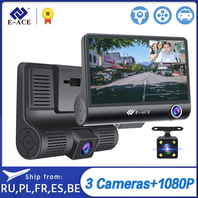 E-ACE Auto Dvr 3 Camera Lens 4.0 Inch Dash Camera Dual Lens Suppor Achteruitrijcamera Video Recorder Auto Registrator Dvr dash Cam