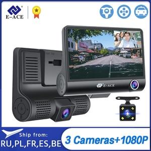 E-ACE Car DVR 3 Cameras Lens 4.0 Inch Dash Camera Dual Lens suppor Rearview Camera Video Recorder Auto Registrator Dvrs Dash Cam(China)