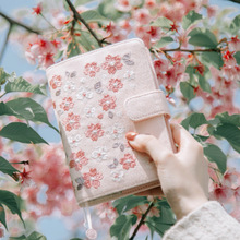 A6 Self-filling Calendar Schedule Embroidery Cloth Sakura Diary Notebook Japanese Monthly Plan Weekly Planner Color Girls Gift