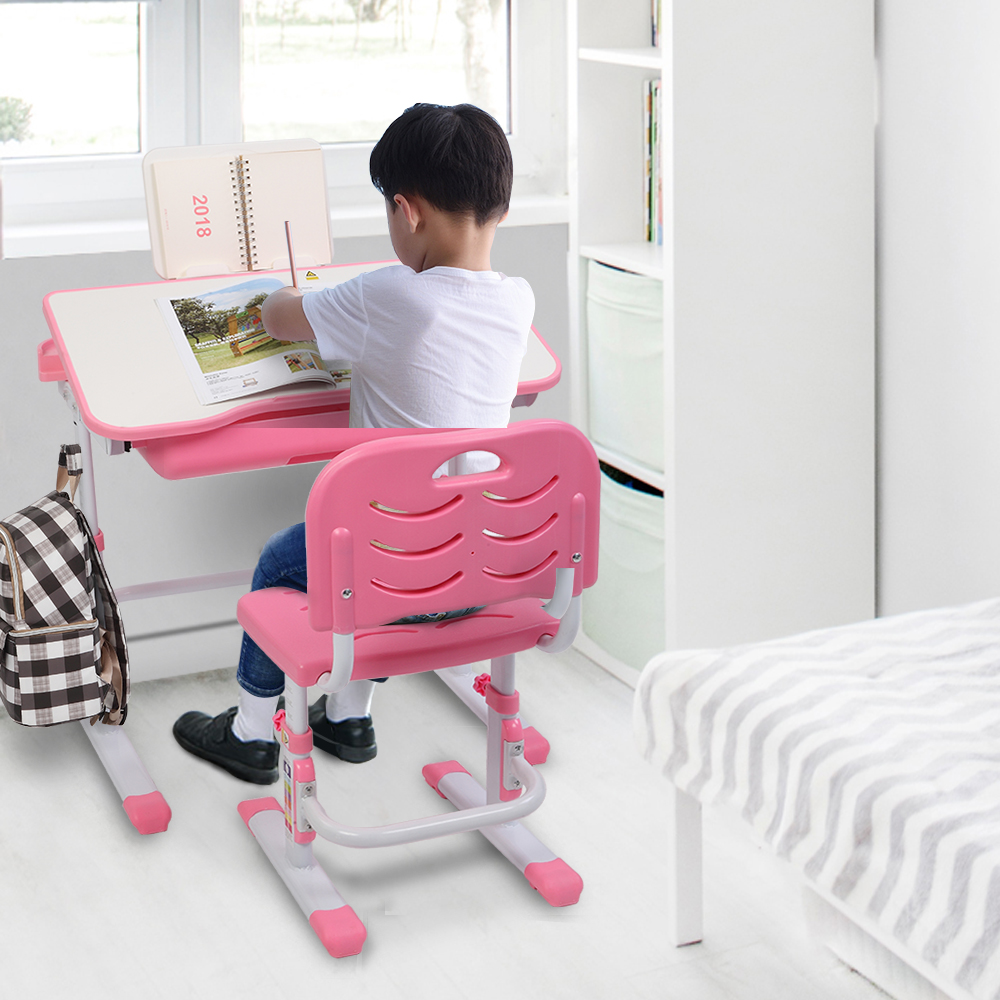 【US Warehouse】70CM Lifting Table Can Tilt Children Learning Table And Chair Pink Free Drop Shipping USA