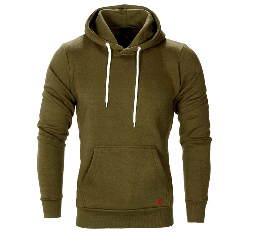 Hirigin Autumn Men Casual Long Sleeve Front Pocket Soft Cotton Plain Zipper Pullover Hoodies Sweatshirts Running Wear