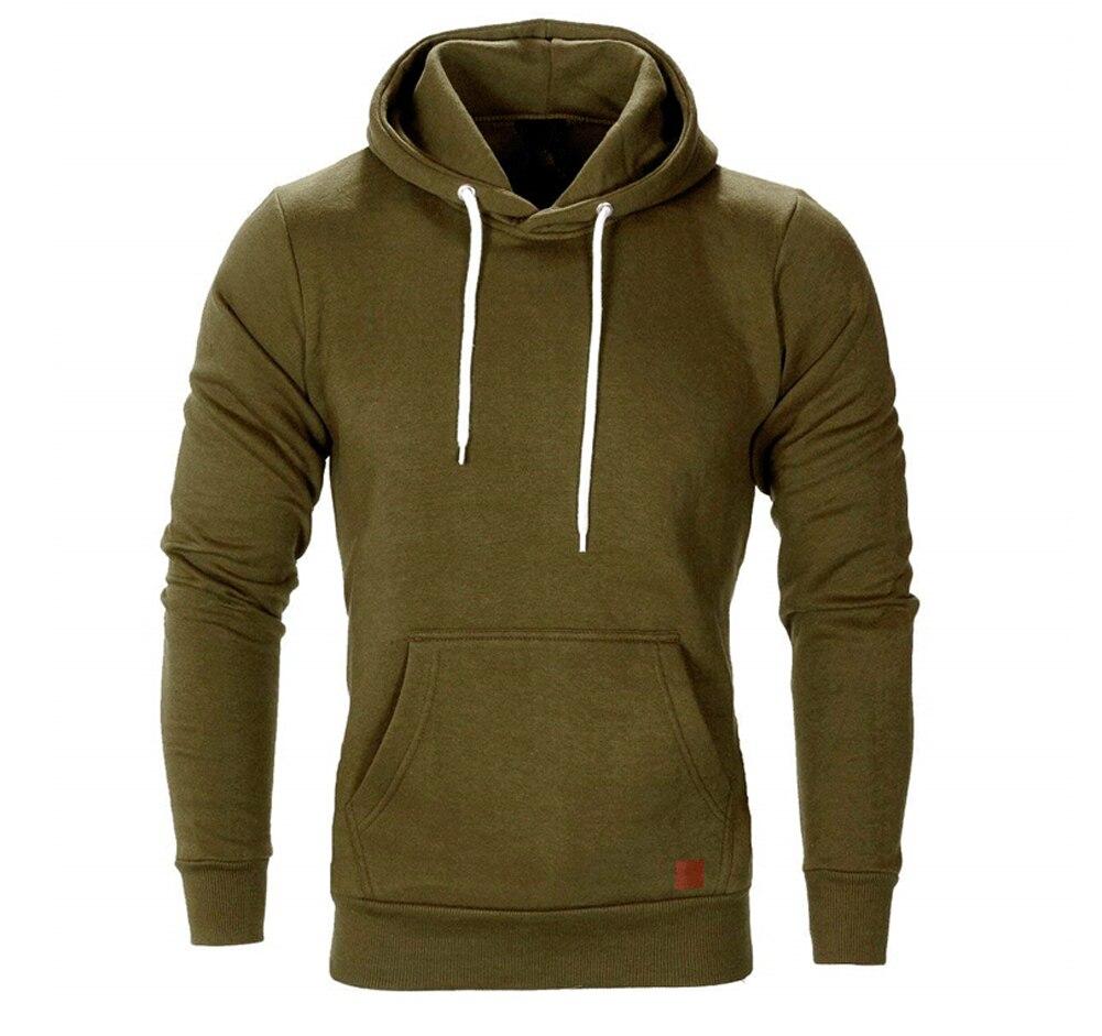 Hirigin Autumn Men Casual Long Sleeve Front Pocket Soft Cotton Plain Zipper Pullover Hoodies Sweatshirts Running Wear