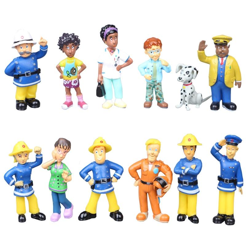 12 шт./компл. с рисунками из мультфильма «Пожарный Сэм» для мальчиков с рисунками из мультфильмов и аниме пожаротушения Рисунок Модель кукла,...