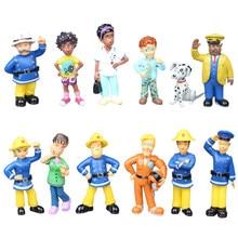 12 unids/set bombero Sam de Anime de dibujos animados fuego figura de acción de pelea modelo muñeca juguetes de PVC chico chica juguete para niños de cumpleaños de regalo de Navidad