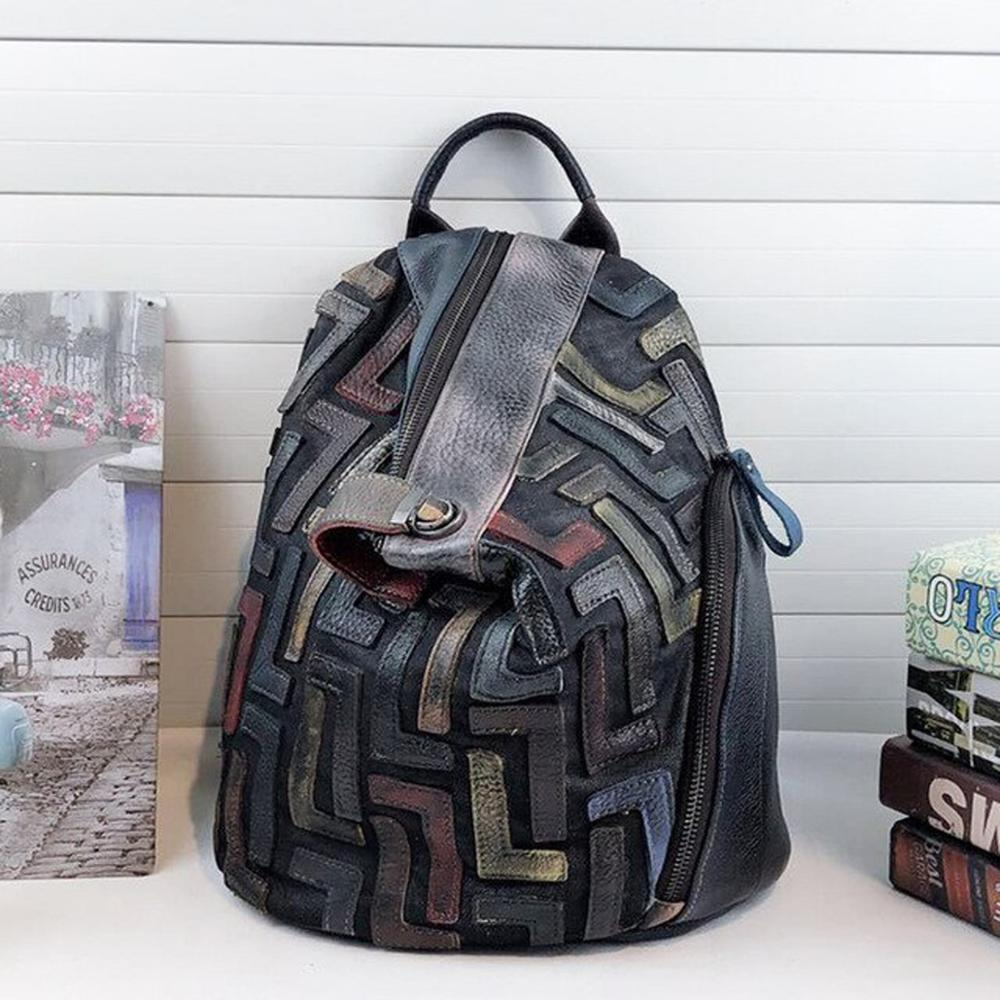 Anti-theft Genuine Leather Vintage Backpack Women Retro Chic Patchwork Daily Knapsack Female Natural Leather Feminine Packsack