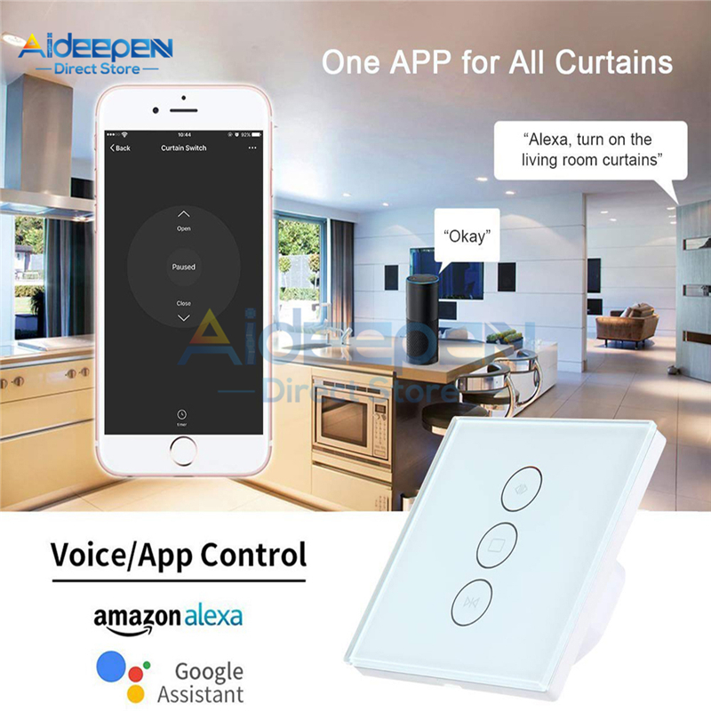 Smart WiFi Curtain Switch Electric Blind Roller Curtain Touch Switch DIY Smart Home For Amazon Alexa Google Assistant Control