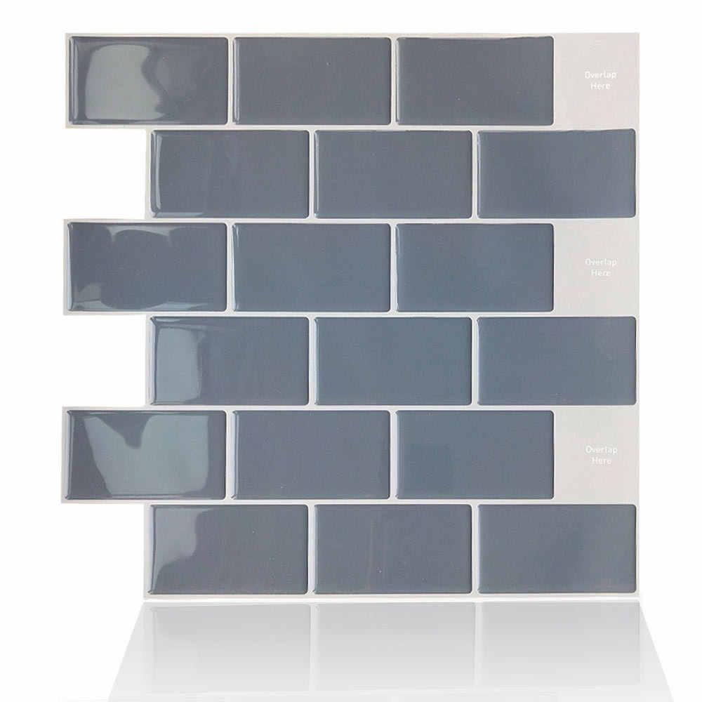 - Modern 3D Wall Sticker Grey Brick Subway Mosaic Wall Tile Self