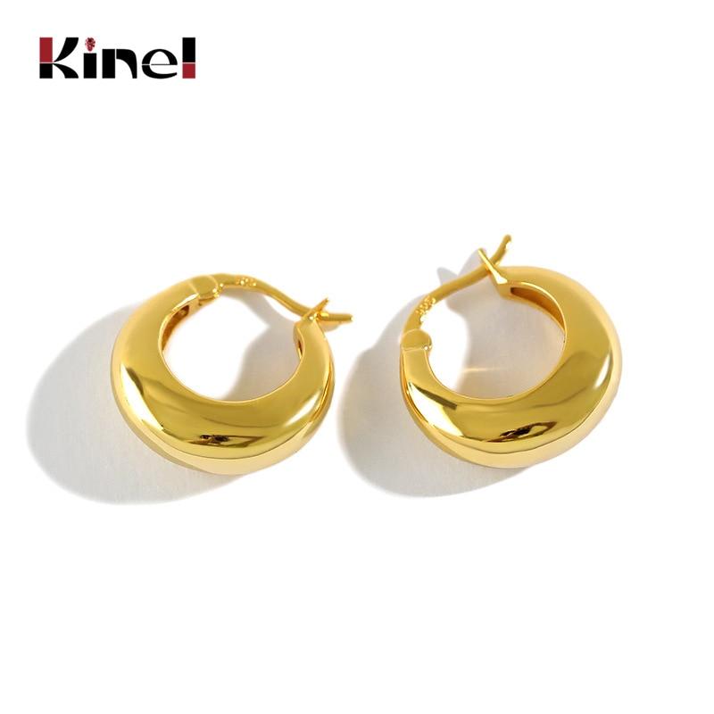 Kinel 925 Sterling Silver Geometric Circle Earrings for Women Nordic Style Minimalist Big Earring Female Luxury Party Jewelry