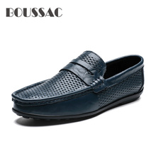 BOUSSAC Shoes Men Loafers Summer Soft Moccasins Man Casual Genuine Leather Boat Shoes Men Flats Gommino Male Driving Shoes цена