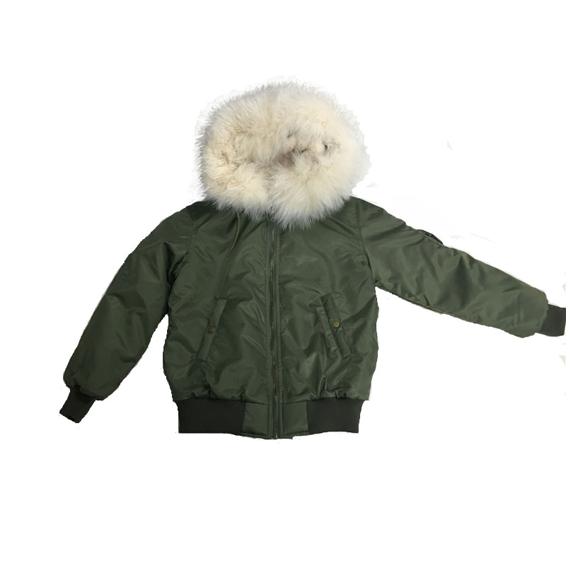 Army Green Military Style Children Jacket For Boys Rice White Raccoon Fur Collar Can Be Removable S L