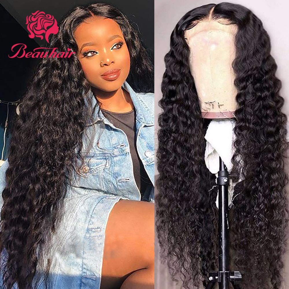 4x4 Lace Closure Wigs Brazilian Human Hair Wigs Jerry Curly Pre-Plucked With Baby Hair Lace Closure Wig For Black Women Beauhair