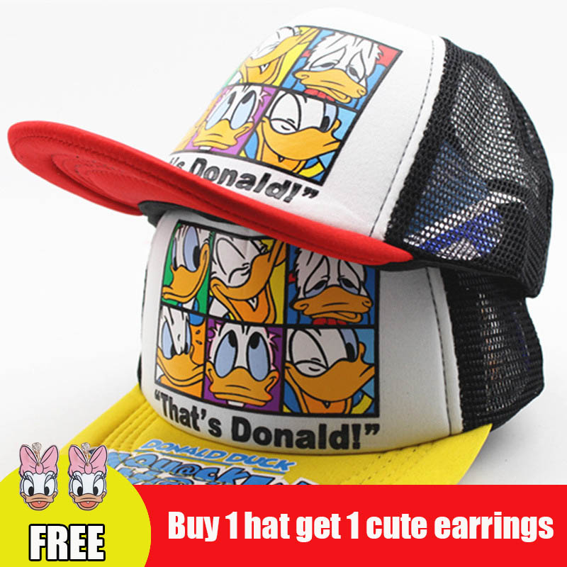 2018 New Meshy Ventilate Baseball Caps For Kids Boys And Girls Cartoon Print Cute Duck Baseball Hat Four Seasons Applicable