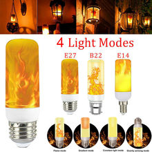 Four Modes 3W E14 E27 B22 Flame Bulb 85-265V LED Flame Effective Fire Bulbs Flickering Emulation Decor LED Lamp