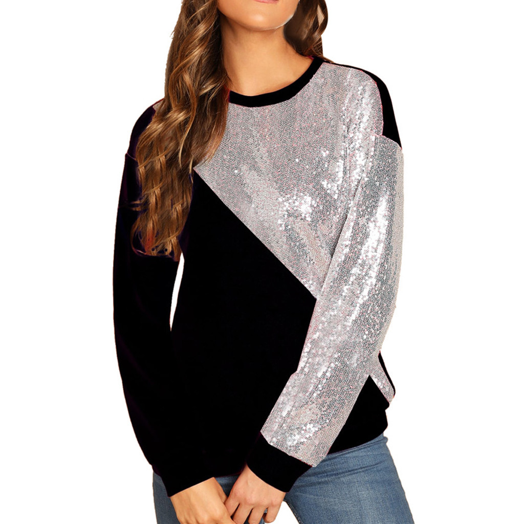 Jaycosin Fashion Women Simple Blings Sequins Color Block Sweatshirt Stylish Long Sleeve Comfortable Casual Loose Pullover 925#3