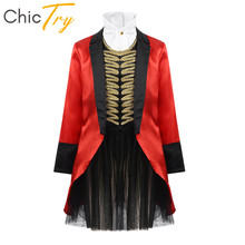 ChicTry Kids Halloween Cosplay Party Dress Girls Circus Costume Ringmaster Outfit Long Sleeves Jacket with Mesh Tutu Skirt Set