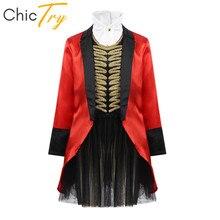 ChicTry dla dzieci Halloween Cosplay sukienka na imprezę dziewczyny kostium cyrkowy Ringmaster strój długie rękawy kurtka z spódniczka baletowa zestaw