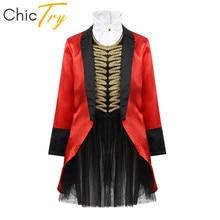 ChicTry robe Cosplay dhalloween pour filles, tenue de cirque, tenue de maître de anneaux, veste à manches longues avec ensemble de jupe Tutu en maille