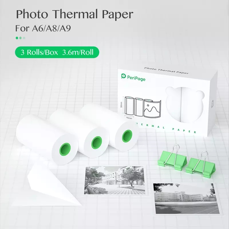 56*30mm White Color Thermal Paper label Paper Sticker Photo Paper for Peripage A6 A8 PAPERANG P1 P2 Photo Pocket Mini Printer