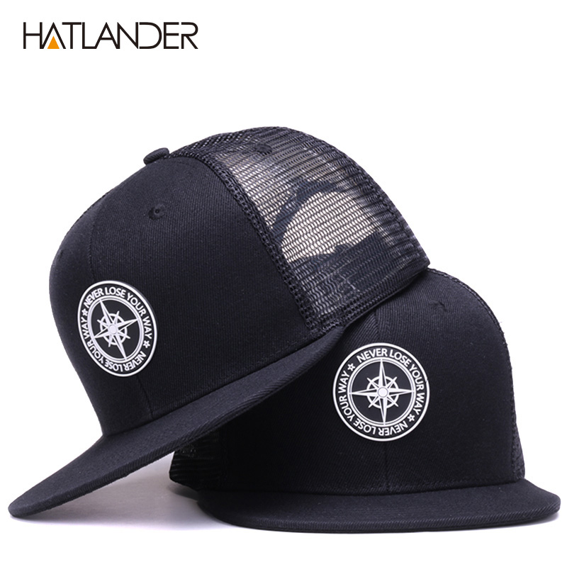 HATLANDER Original Baseball Caps For Men Women Black Snapback Cap High Quality Cool Hip Hop Cap 6panels Bone Mesh Truck Cap Hat