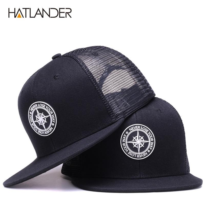 HATLANDER Original Baseball Caps For Men Women Black Snapback Cap High Quality Cool Hip Hop Cap 6panels Bone Mesh Truck Cap Hat