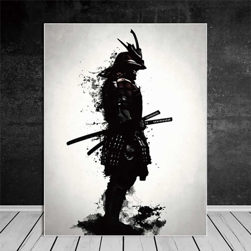 Metal Poster sign wall art Samurai Dance White Poster Canvas plaque