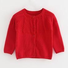 Однотонный красный свитер для малышей, кардиган, осенняя желтая куртка, пальто для малышей 6, 9, 12, 18, 24 месяцев, коллекция года, весенне-зимняя одежда для маленьких девочек, 195007