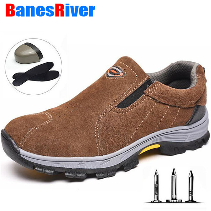 Unisex Protective Men Safety Sport Shoes Steel Head Steel Anti-slip Work Boots Anti-smashing Stab-resistant Gas Protective Shoes