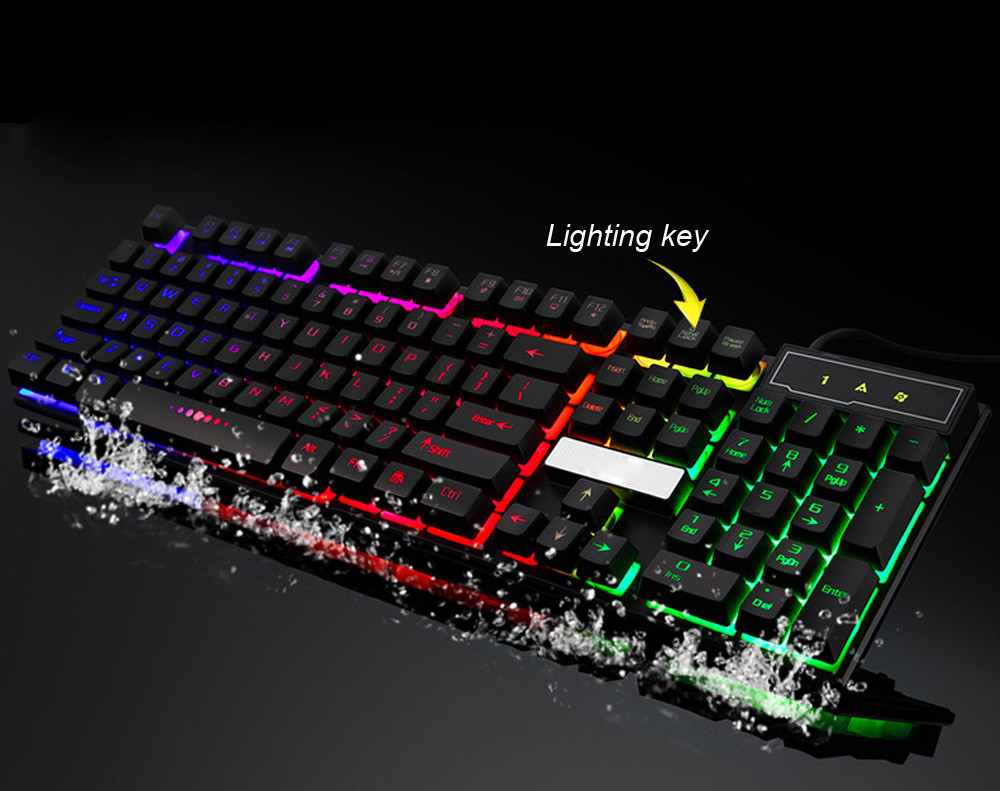 Keyboards Gaming White Colorful Crack LED Illuminated Backlit waterproof USB Wired PC Rainbow Gaming Wired Mechanical Keyboard