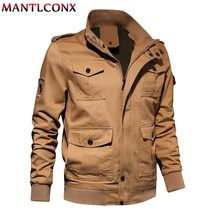 MANTLCONX Plus Size Military Jacket Men Spring Autumn Cotton Pilot Jacket Coat Army Men's Multi Pocket Cargo Jackets and Coats цена