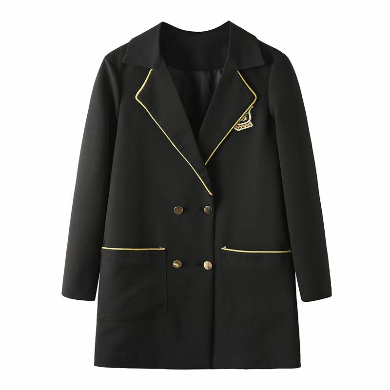 XL-5XL Plus size Autumn Winter Women Blazer Suit Black Office Jackets Double Breasted Suit 4XL Large Preppy Style Blazers Coats