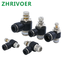 Male Thread Push to connect Fitting Elbow Pneumatic Speed Flow Controller Fittings Black 4-12mm Tube - M5 1/8