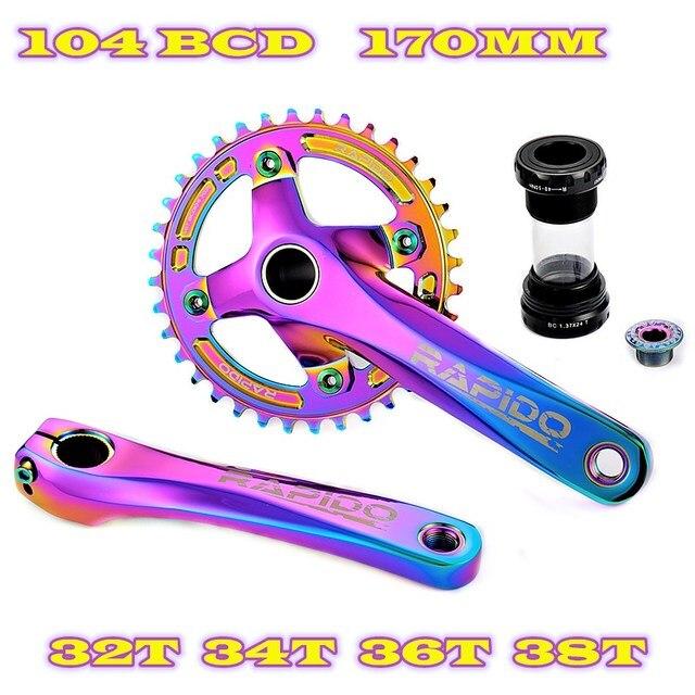 자전거 크랭크 셋 170MM 104BCD 체인 링 32T 34T 36T 38T 와이드 좁은 크라운 ALU 7075 다채로운 진공 도금 MTB 자전거 크랭크
