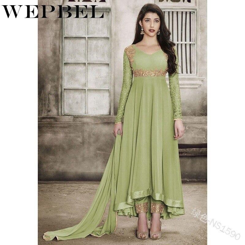 WEPBEL Eid Mubaraka Muslim Indian Clothing Abaya Dress Women Caftan Robe Dubai Turkey Print Islamic Vestiddos