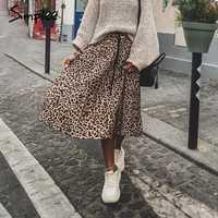 Simples do vintage leopardo imprimir saias plissadas feminino punk rock coreano saia streetwear cordão cintura elástica senhoras midi saias