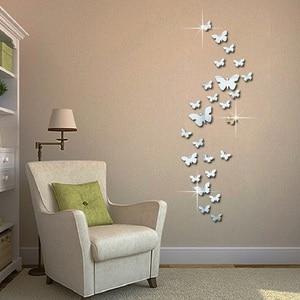 Image 1 - 12 Pcs 3D Spiegels Vlinder Muurstickers Decal Muur Art Verwisselbare Kamer Party Wedding Decor Home Deco Muursticker Voor kinderkamer