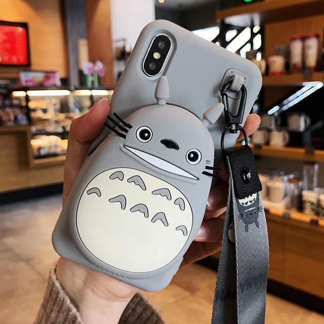 3D การ์ตูน Totoro Cony Sally ซิปกระเป๋าสตางค์โทรศัพท์สำหรับ VIVO X20 X9s PLUS X9 X7 Plus น่ารักการ์ตูนนุ่มฝาครอบซิลิโคน