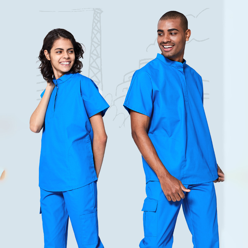 Fashion High Neck Medical Scrub Tops Surgical Tunic For Women And Men Resists Wrinkles Hospital Dental Clinic Workwear Scrubs