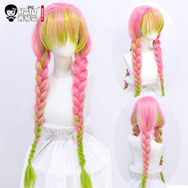 HSIU Kanroji Mitsuri Anime Cosplay perruque démon tueuse: Kimetsu pas de Costumes Yaiba Halloween longues tresses roses vertes cheveux synthétiques.